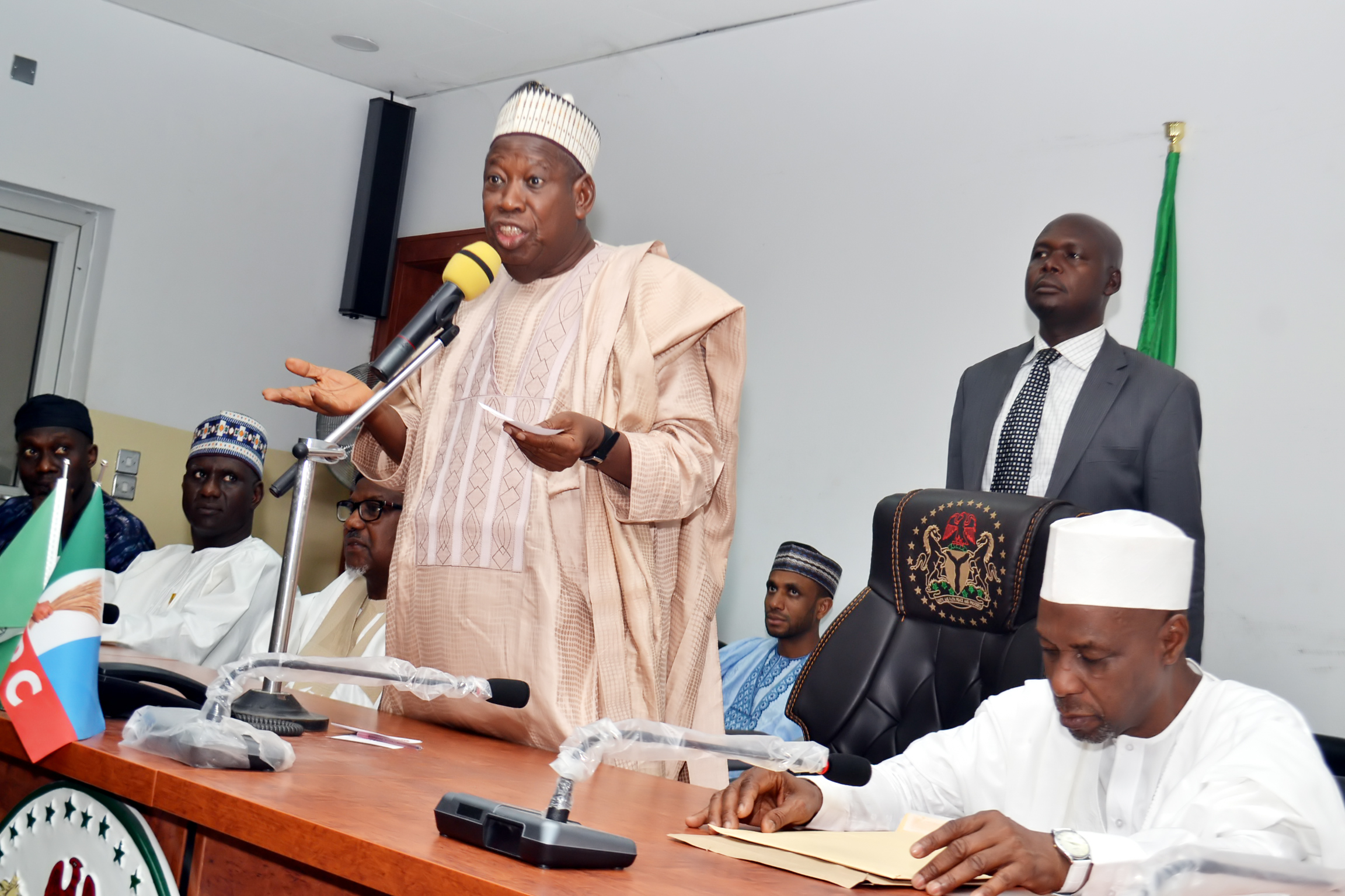 Kano State Governor, H.E Abdullahi Ganduje addresses MAN members at a courtesy visit
