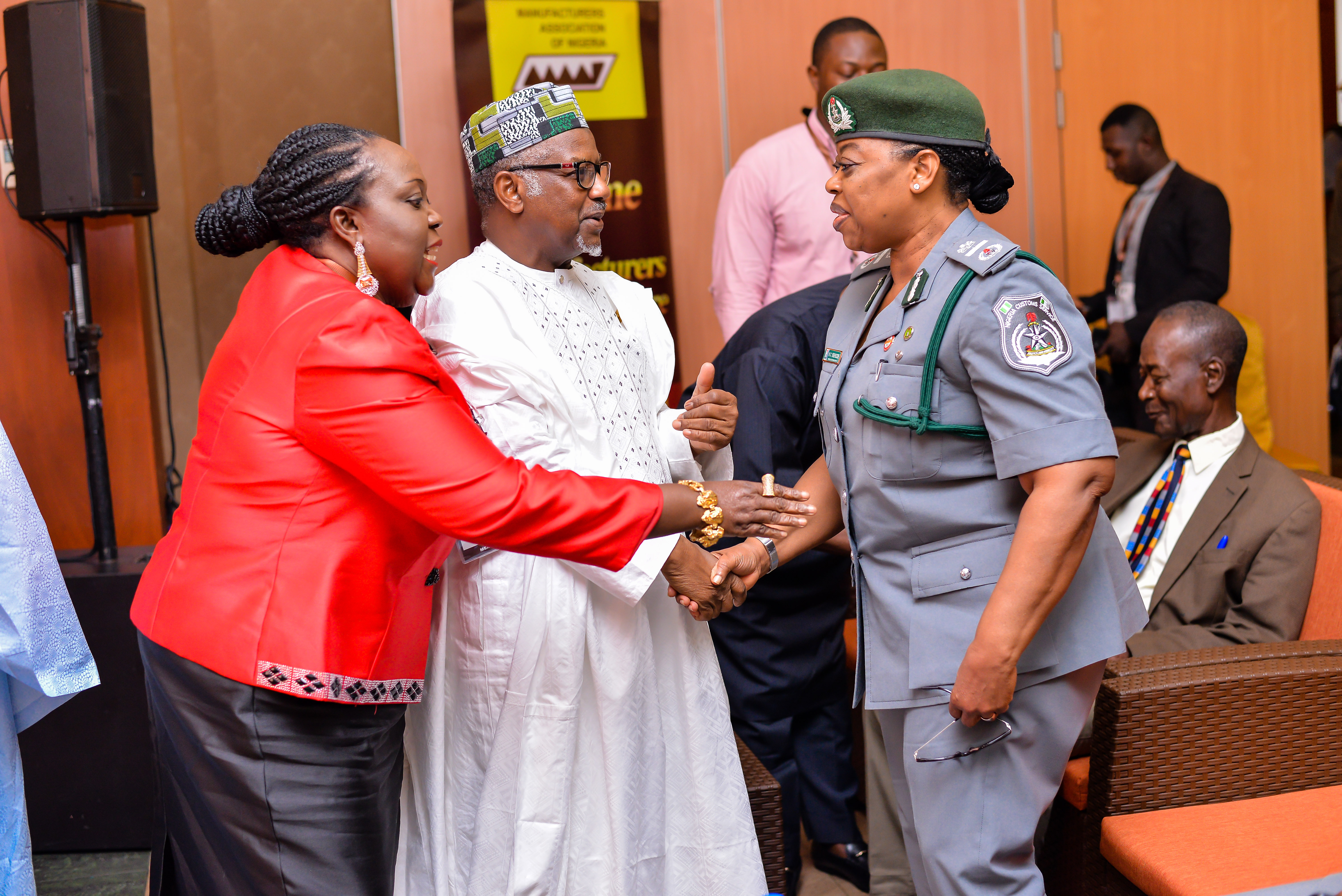 MAN President exchanging pleasantries with the Representative of CG Customs, ACG KC Ekekezie